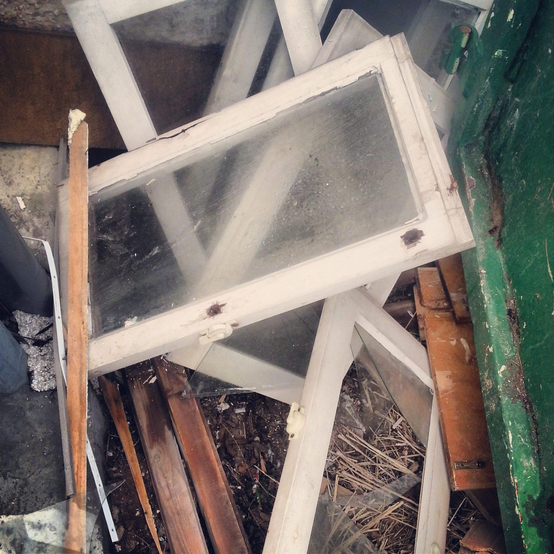 כך מצאתי את החלונות זרוקים ליד הצפרדע באזור התעשייה