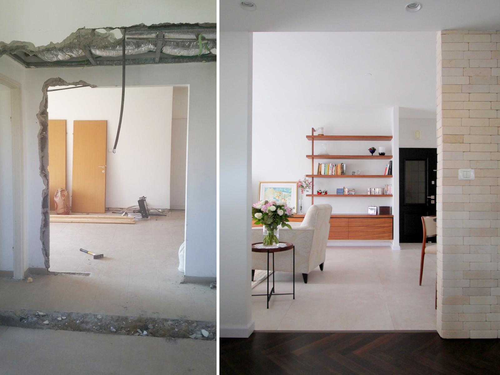 לפני ואחרי כניסה לבית עיצוב וצילום לירון גונן
