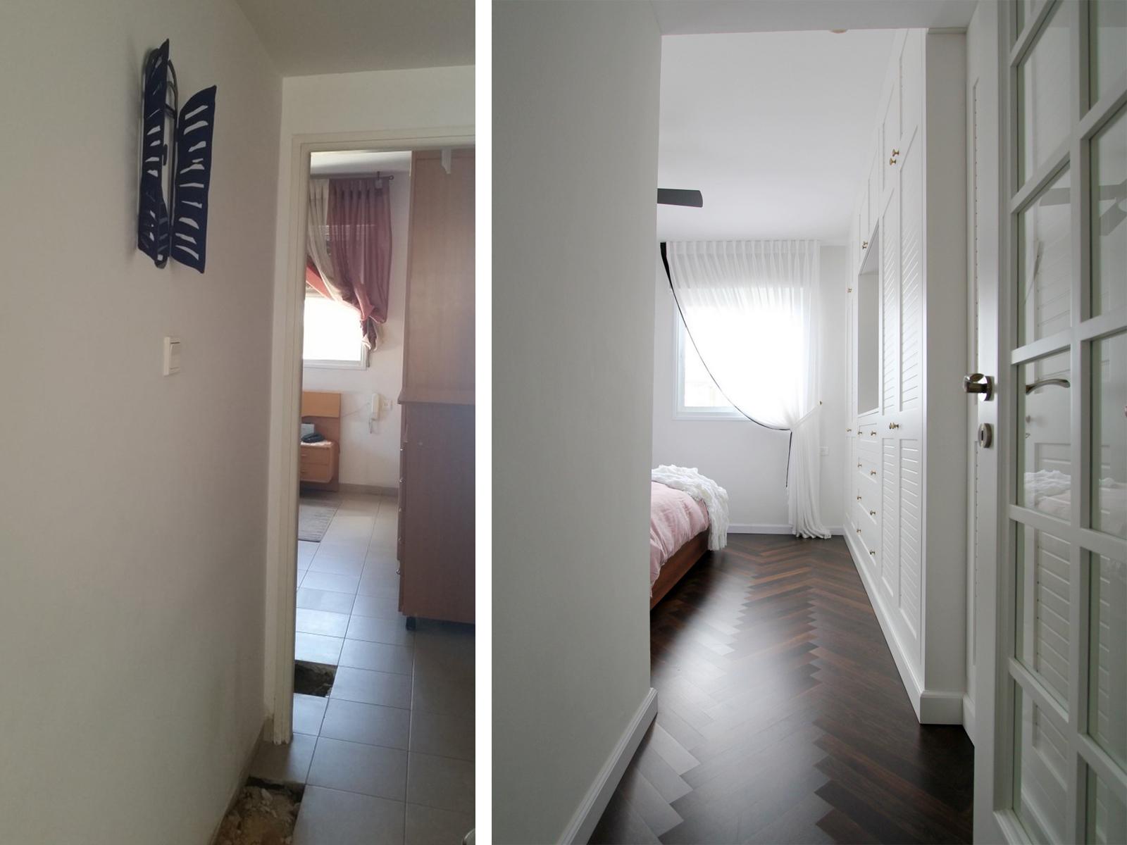 לפני ואחרי מבואה לחדר שינה עיצוב וצילום לירון גונן