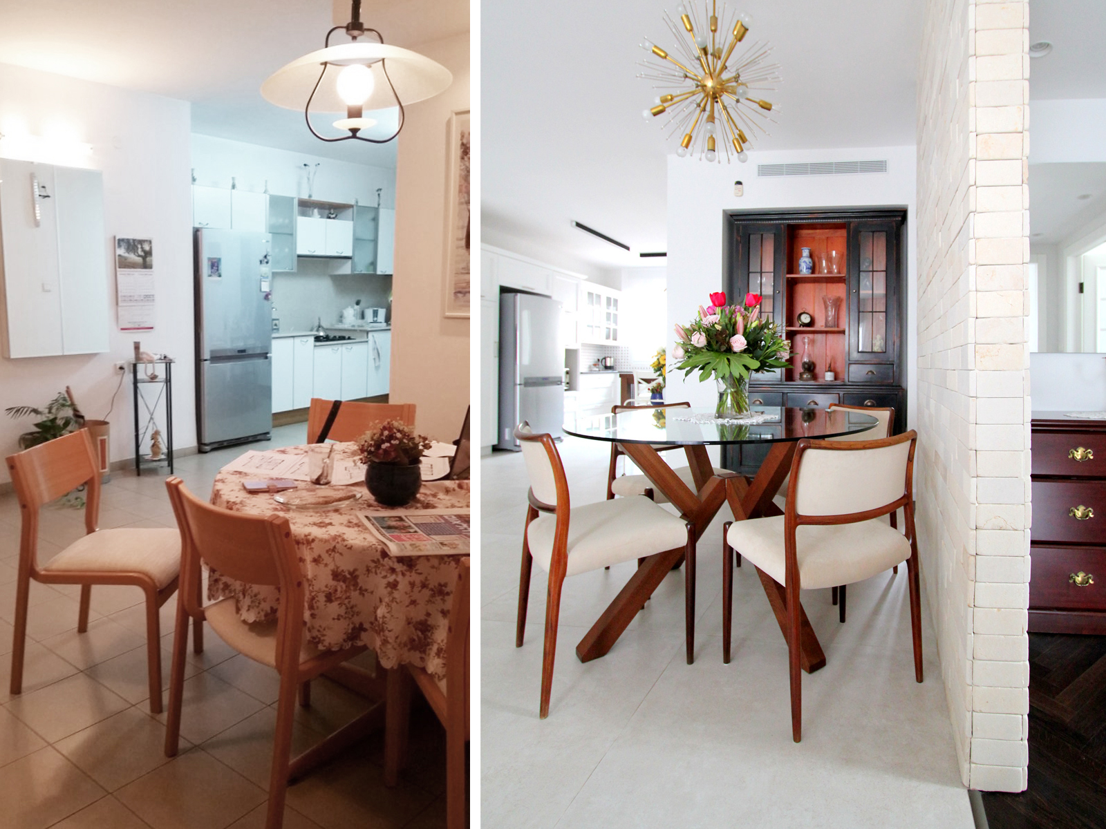 לפני ואחרי פינת אוכל עיצוב וצילום לירון גונן