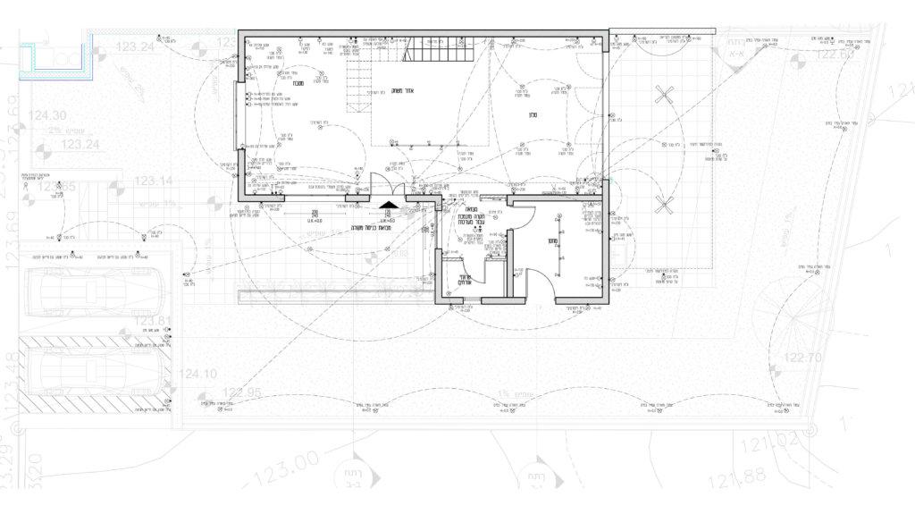 תכנית חשמל קומת קרקע בבית פרטי לקראת בנייה