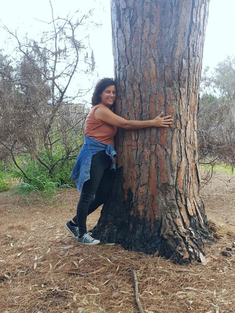עץ אורן, חיבוק עץ, מחבקת עצים, לחבק עץ, טבע תרפיה