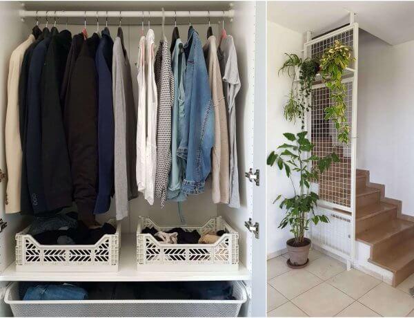 ארון בגדים, קונמארי, מינימליזם, מעקה רשת ברזל